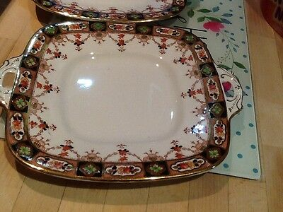 2 Vintage Royal Stafford bone china cake plate With Handles - Imari style Design