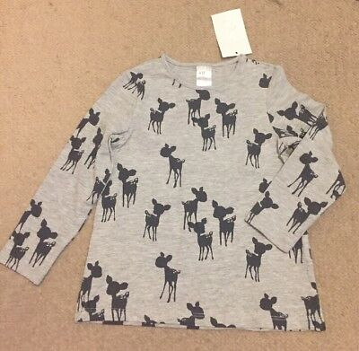 Infant Long Sleeve Top, Grey With 'bambi' Print Age 12-18 Months