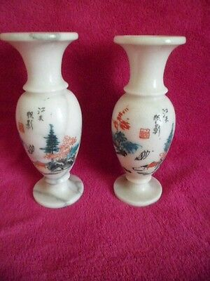 white marble chinese vases signed very heavy
