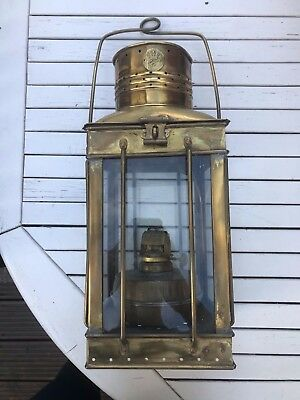 Carriage Lantern Oil Lamp Brass And Glass Very Rare