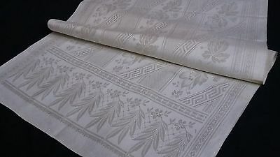 old unused linen damask Towel / Runner beautiful Art Nouveau pattern Roses