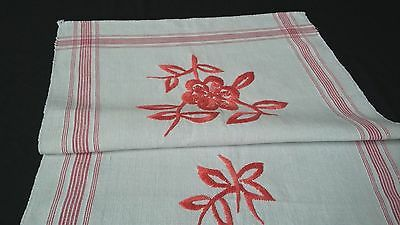 handwoven linen Runner Towel with embroidery and red woven border