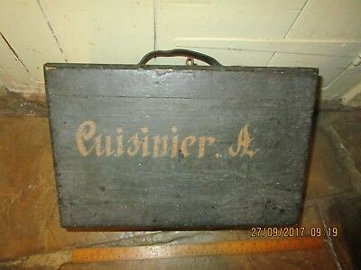 Antique French box with painted name ' A.Cuisinier ' and Leather handle -storage