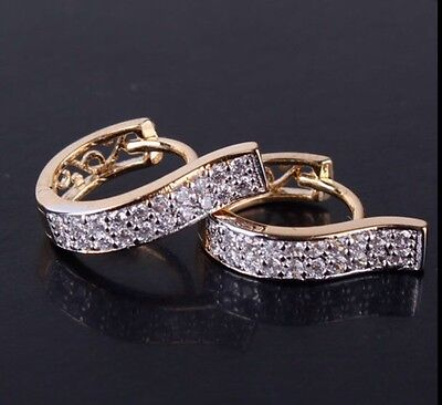 18K yellow Gold Diamond Hoop Earrings              220
