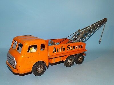Auto Service Tow Truck Tin Windup Toy Joustra France