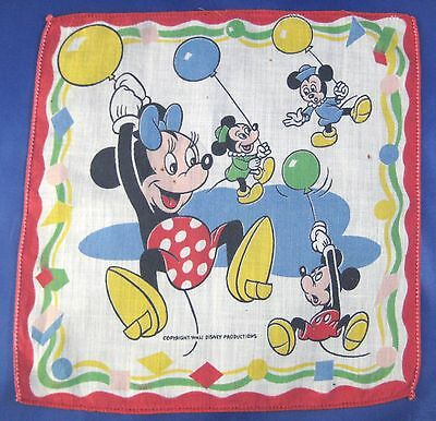 Vintage Minnie Mickey Mouse Hanky Morty Fergie Balloons Walt Disney Productions