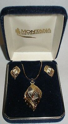 Montana Sterling Silver Plate Gold Tribal Feather Western Necklace & Earring Set