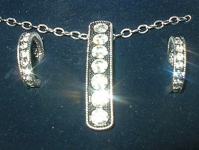 Montana Sterling Silver Plate Bling Necklace And Earring Set Large Rhinestones