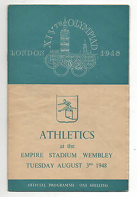 Orig.PRG   XIV.Olympic Games LONDON 1948  //  ATHLETICS  03.08.1948 !! VERY RARE