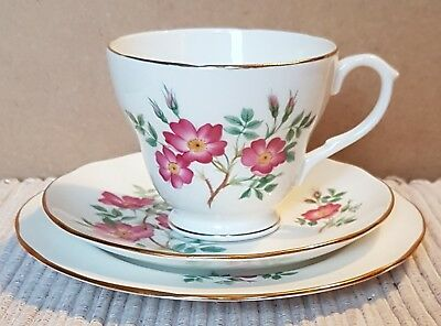 Vintage Duchess China Cup, Saucer & Side Plate Trio  - Wild Rose of Alberta
