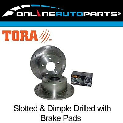 2 Rear Disc Brake Pads+Rotors Slotted+Drilled Holden Commodore VR VS with IRS
