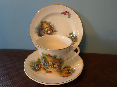 Vintage 'A Somerset Cottage. Trio,  Tea cup, Saucer and Tea Plate, Barratts