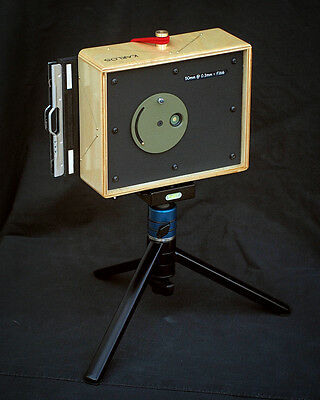 Karlos 110. 4x5 pinhole camera with 50mm focal length.