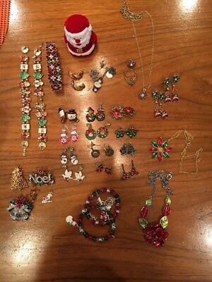 Christmas-Holiday Costume Jewelry-Craft Supplies-Lot-Pins-Earrings-Charms