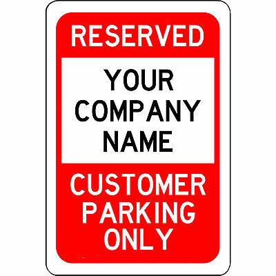 Reserved Customer Parking Only Red and Black Aluminum Business Sign