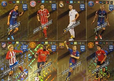 FIFA 365 2018 Panini Adrenalyn Limited Edition 8 pcs, Neymar PSG, Lukaku, Alves