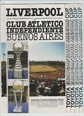 Orig.PRG   Toyota Cup 1984  FINAL  CA INDEPENDIENTE - FC LIVERPOOL  !!  RARITY
