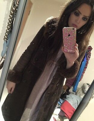 Vintage 60s 70s Shearling Sheepskin Suede Maxi Coat Brown Penny Lane - 10 12