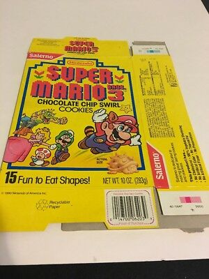 Nintendo 1990 Super Mario Bros. 3 Chocolate Chip Swirl Cookies Box Salerno