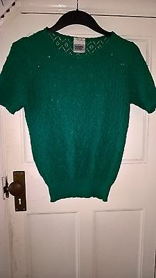 Vintage 1950s 1960s green knitted short sleeve top sz 10