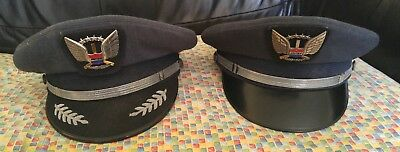 Vintage United Airlines Pilot Hats - Lot of 2 - w/ Sterling Pins - Superior