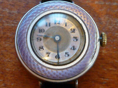 Antique Early 20th century hallmarked silver and purple guilloche enamel Watch