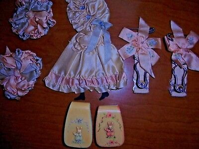 Vintage Baby Celluloid Cradle/Blanket Clips w/ Rabbits & Accessories Gift Set