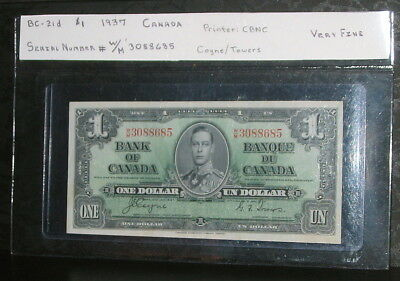 1937 $1 Canadian Paper Money