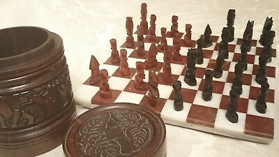 Vintage Style Hand Carved Wood Chess Pieces Marble Board Ebony Teak Box Antique