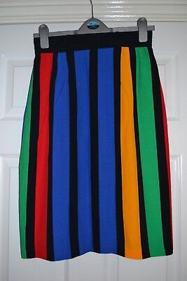 Vintage Betty Barclay skirt early 1990s bright stripes UK 12