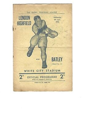 1933/34 only season LONDON HIGHFIELD issue 22 v BATLEY 18th April 1934