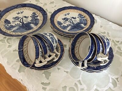 Booths Real Old Willow With Gold Trim Tea Service