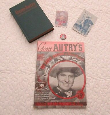 """Collection Of """"5"""" Gene Autry Items. 1938 Songbook; 1948 Book; Vintage Pin; +""""2""""."""