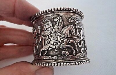 RARE PERSIAN / ISLAMIC c1900 SOLID SILVER NAPKIN RING - WONDERFUL SCENES
