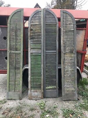 Pair Antique Arch Top  Window Wood Louvered Shutters And spare parts 14 1/2 x 87