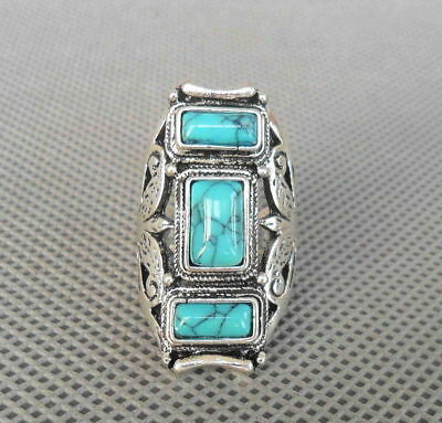 Collectible Tibetan Handmade Miao Silver Inlay Turquoise Carve Flower Lucky Ring