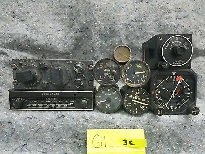 Lot of 5 Airplane Gauges and 4 Radios GL3C