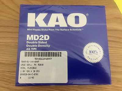 "KAO DSDD 5.25"" 360K Floppy Disks (unopened box of ten disks)"
