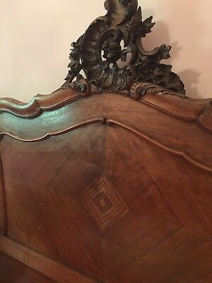 Pair Of Antique French Twin Beds Carved Wood Headboard & Footboard