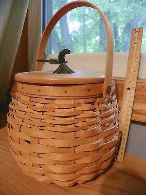 Longaberger 2001 Pumpkin Patch Basket Combo with Lid inner Protector certificate