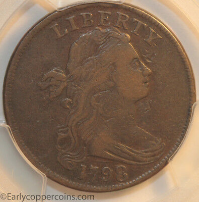 1798 S148 R2 Draped Bust Large Cent PCGS VF25 Style 1 Hair Starts 1C NO RESERVE!