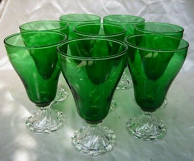 """Set of (8) Anchor Hocking Forest Green Bubble Burple Inspiration 5-7/8"""" Glasses"""