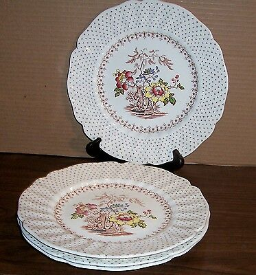 "Lot Of 4 Royal Doulton Grantham Dinner Plates 9.5"" Never Used Free U S Shipping"