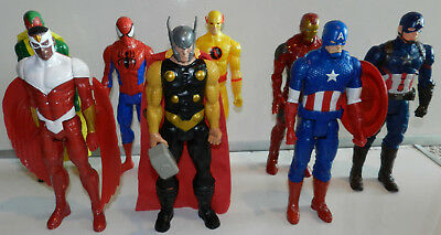 "Lot Of 8 Used Marvel Avengers, Spiderman Titan Hero Series 12"" Action Figures"