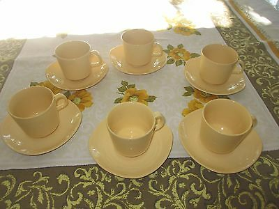 6x Vintage Johnson Australia Yellow Cups & Saucers sets