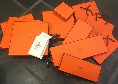 11 Hermes orange boxes and bags collection various sizes ties scarves wallet