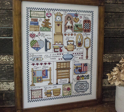 Counted Cross Stitch, Framed, Vintage Antique theme