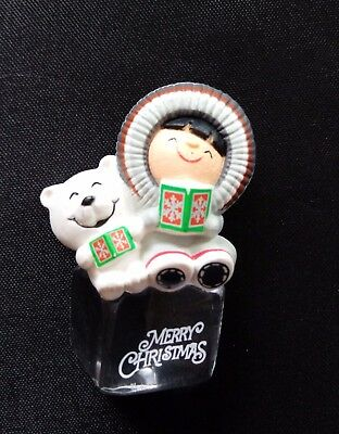 "Hallmark Frosty Friends ""A COOL YULE"" Merry Christmas Pin Brooch EUC"