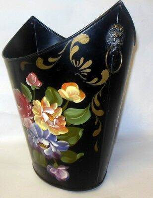 Vtg TOLE Metal REGENCY Waste Basket Lion Heads Florals