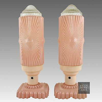Antique Art Deco Table Lamps Skyscaper Tower Glass Shade Millennial Pink Vintage